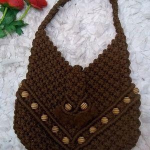 Vintage Boho Macrame Brown Shoulder purse
